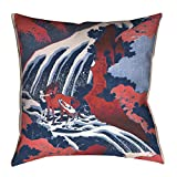 ArtVerse Katsushika Hokusai Horse and Waterfall in Red and Blue Floor Pillows Double Sided Print with Concealed Zipper & Insert, 28'' x 28''