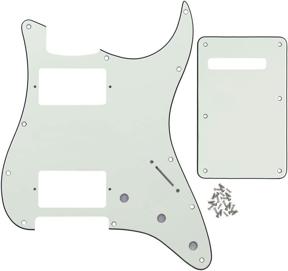 IKN Strat HH Pickguard Back Plate Tremolo Cavity Cover w/Screws for Standard Strat Modern Style Big Apple Guitar Replacement, 3Ply Aged White