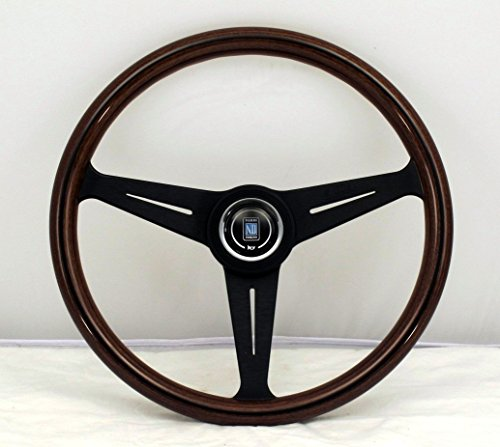 Nardi Steering Wheel - Classic - 390mm (15.35 inches) - Mahogany Wood with Black Anodized Spokes - Black Aluminum Center Ring - KBA/ABE 70065 - Part # 5051.39.2300