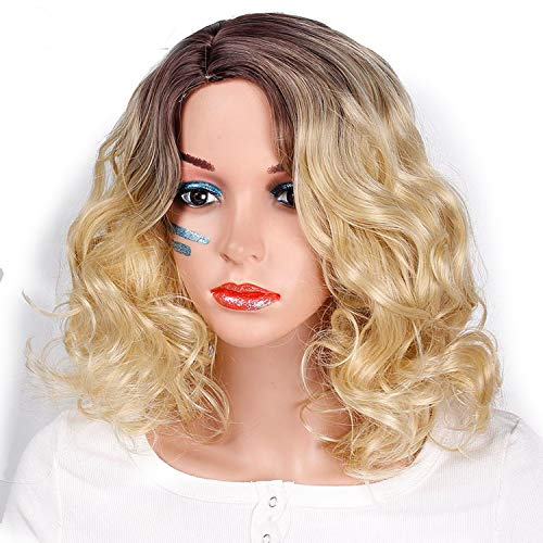 (Ombre Black Short Blonde Wigs For Women Synthetic Blonde Wavy Wig Fluffy Hair Cosplay Heat)