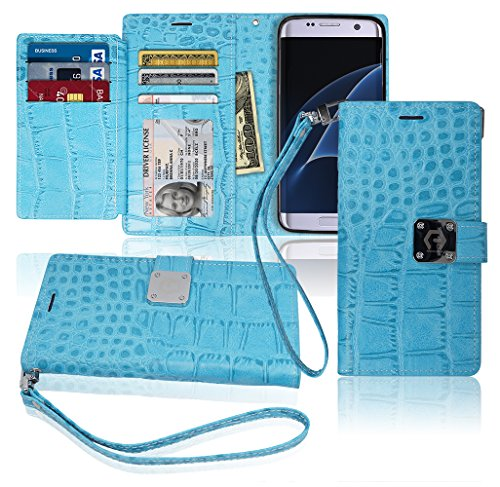S7 Edge Wallet Case, Matt [ 8 Pockets ] 7 ID / Credit Card 1 Cash Slot, Power Magnetic Clip With Wrist Strap For Samsung Galaxy S 7 Edge Leather (Zinfandel Cheese)