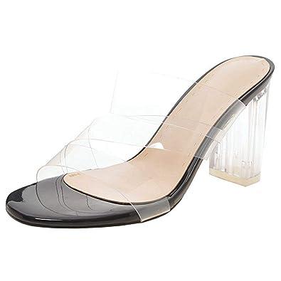 f3759428956 Amazon.com   Vitalo Womens Transparent Clear Mules Block Heel Slides ...