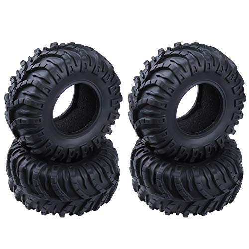 Hobbypark OD 128mm 2.2 inch Tires with Foam Inserts Beadlock Wheel Rims Tyres for 1/10 RC Rock Crawler Truck Replacement (4-Pack) ()