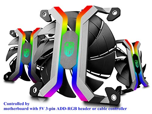 DEEPCOOL MF120S 3x120mm PWM Case Fans Radiator Fans, Motherboard Control and Wired Controller Supported, 5V 3-pin Addressable RGB, 5-Port RGB Hub ()