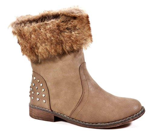 Damen Stiefeletten Cowboy Western Stiefel Boots Nieten Schlupfstiefel Warm Gefüttert 822 Khaki