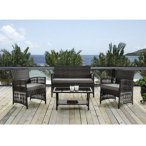 Rattan Coffee Table Dubai: IDS Home MLM-16403 Brown Color Patio Furniture Coversation