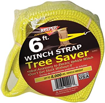 Keeper 02953 Winch Strap Tree Saver with Loops 6 x 3 10,000 lb Vehicle Capacity
