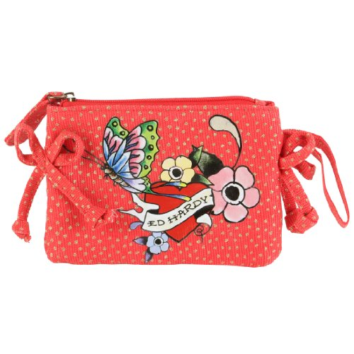 Ed Hardy Girls Tiana Mini Wristlet - Red