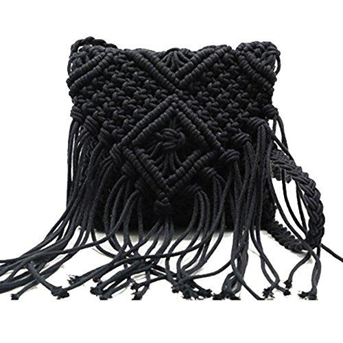 Trendy Tassel Messenger Bag Black - 7