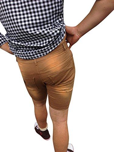 Jeans Hosen Herren Bermuda Braun Bestickt Freizeit Business Baumwolle
