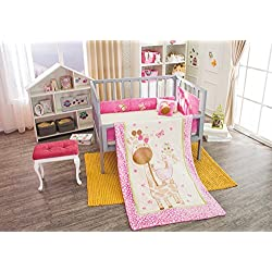 "Giraffe ""Magui"" Baby Crib Bedding Girl's Nursery Set 4 piece Limited Edition"