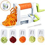Spiralizer Vegetable Slicer, 5-Blade Spiral Slicer, Foldable Veggie Pasta Zucchini Spaghetti Zoodle Maker with Strong Suction Pad, Extra Blade Caddy and Cleaning Brush