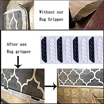Anti Slip Straight Carpet Gripper for Corners and Edges Amtake Rug Gripper Pad 8 pcs Anti Curling Area Rug for Hardwood Floors and Carpet 8 pcs