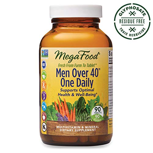 MegaFood, Men Over 40 One Daily, Daily Multivitamin and Mineral Dietary Supplement with Vitamins B, D and Zinc, Non-GMO, Vegetarian, 90 Tablets (90 Servings) from MegaFood