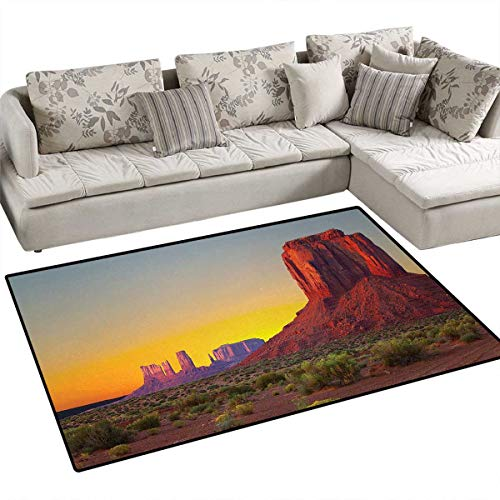 Red Rug Grand Trunk - Canyon,Floor Mat,Sunset in Famous Grand Canyon Antiquated Natural Wonders of World Heritage Photo,Small Rug Carpet,Red Yellow,48