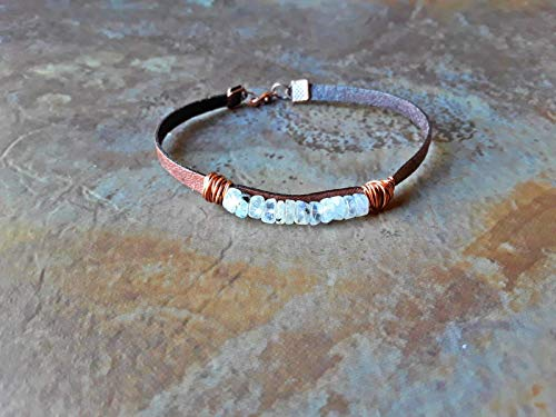Black Speckled Rainbow Moonstone Wire Wrapped Leather Bracelet ()