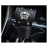 LuckySHD Black Pu Leather Car Gear Shift Cover with