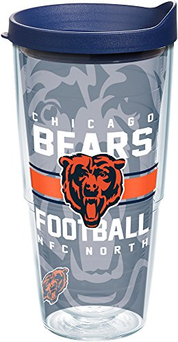 (Tervis 1181974 NFL Chicago Bears Gridiron Tumbler with Wrap and Navy Lid 24oz, Clear)