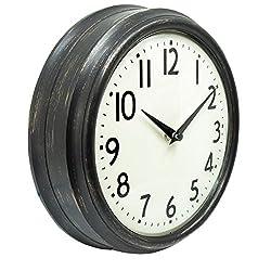 45Min 9.5 Inch Spherical Glass Round Classic Clock, Silent Non-Ticking Retro Quartz Decorative Wall Clock White/Black/Red(Black)