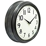 45Min 9.5 Inch Spherical Glass Round Classic Clock, Silent Non-Ticking Retro Quartz Decorative Wall Clock White/Black/Red(Black)