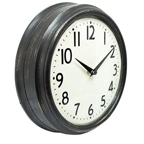 (45Min 9.5 Inch Spherical Glass Round Classic Clock, Silent Non-Ticking Retro Quartz Decorative Wall Clock White/Black/Red(Black))