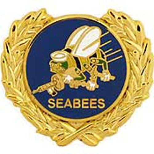 EagleEmblems P15909 Pin-Usn,Seabees,Wreath,LO (1.125'')