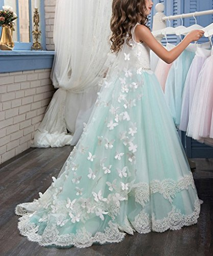 Banfvting Long Cape Detachable Train Girls Prom Dress Party Gown With Handmade Flowers by Banfvting (Image #6)