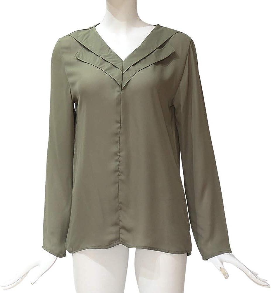 Xmiral Camicetta Top Moda Donna Chiffon Solido T-Shirt Manica a Rotolo Semplice