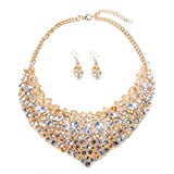 Womens Luxury Rhinestone Crystal Choker Necklace and Earring Set Bride Jewelry Set (Gold)