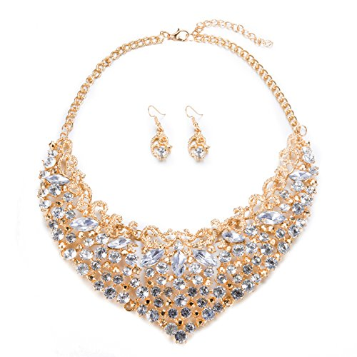 Gold Costume Necklace (Womens Luxury Rhinestone Crystal Choker Necklace and Earring Set Bride Jewelry Set (Gold))