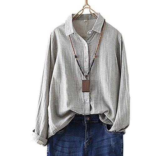 YOUMU Women Vintage Cotton Linen Shirt Long Sleeve Button-Down Loose Blouse Top by YOUMU