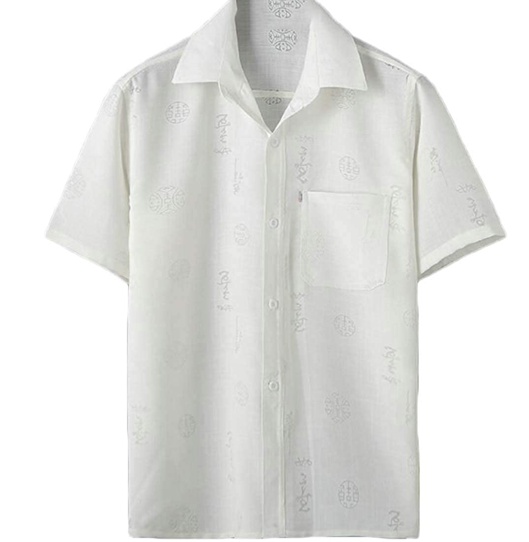 Joe Wenko Mens Casual Chinese Traditional Style Short Sleeve Button Up Shirts