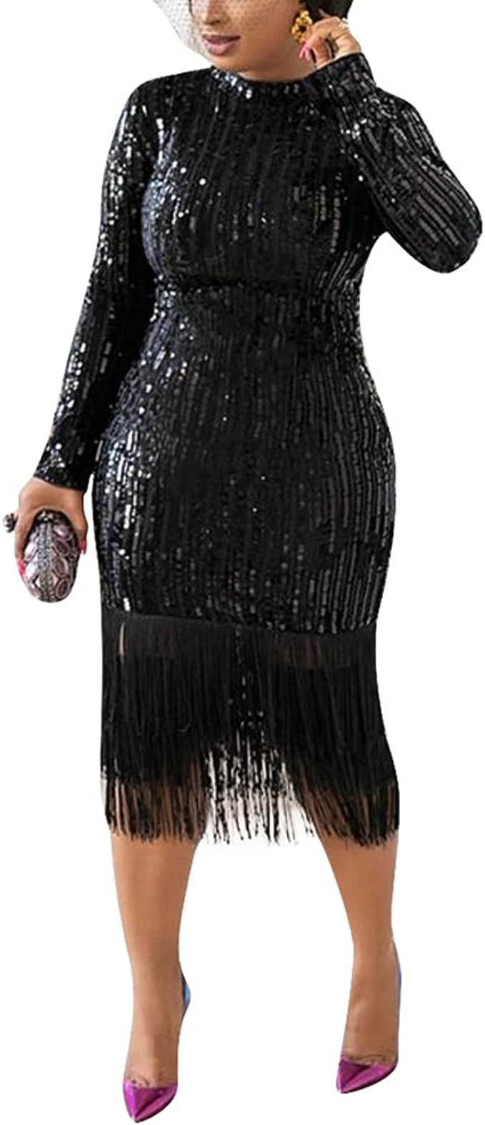 Women Bandage Bodycon Long Sleeve Sequins Evening Party Cocktail Short Dress
