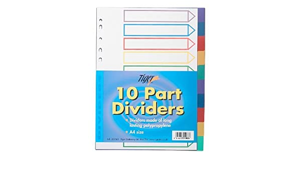 Amazon.com: A4 Colour Coded 10 Part Strong Filing Subject Dividers Tabbed Ringbinder: Office Products