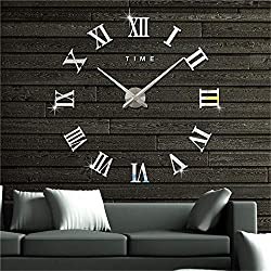 Artensky Wall Clock 3D DIY Large Roman Numerals Vintage Acrylic Stickers Mirror Home Decoration (Silver)