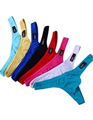 WenMei Men's Low Waist Breathable Cotton U Pouch Thongs G-string Pack of 8