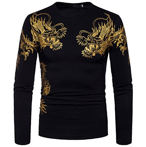 (Men Blouse, Fashion Gold Dragon Print O Neck Pullover Long Sleeved T-Shirt Top (M, Black))