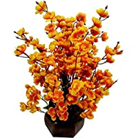 Sofix Beautiful Artificial Flower Pot Peach Blossom Flower Bunch Pot for Home Decor Hotel Decor Office Decor on Amazon