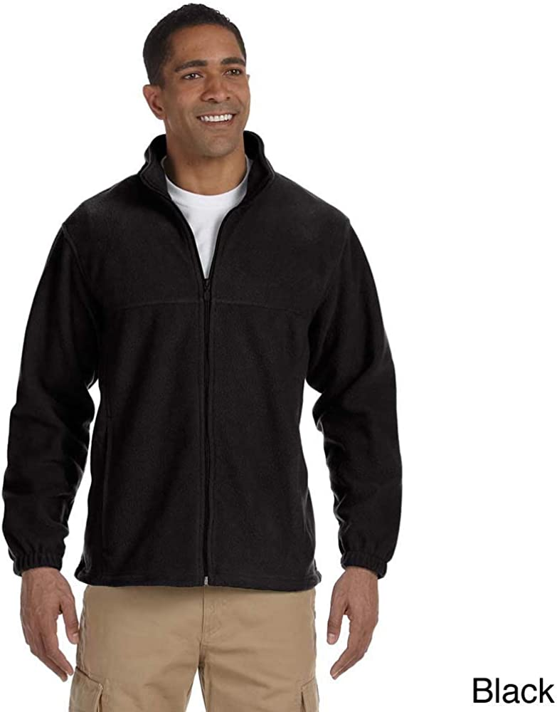Harriton Mens Full-Zip Fleece Jacket Charcoal 3XL