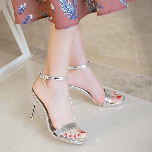 Ankle Women Simple Heels Strap Silver Sandals TAOFFEN q0E7wFPFS