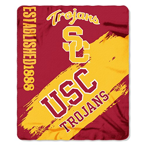 (Officially Licensed NCAA USC Trojans Painted Printed Fleece Throw Blanket, 50