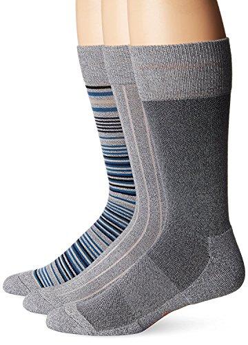 Dockers Men's 3 Pack Cushion Dress - Ultimate Fit Allover Stripe Crew Socks, Grey, Sock Size:10-13/Shoe Size: 6-12