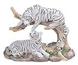 7-Inch Medium Polyresin White Tiger Couple Resting Figurine
