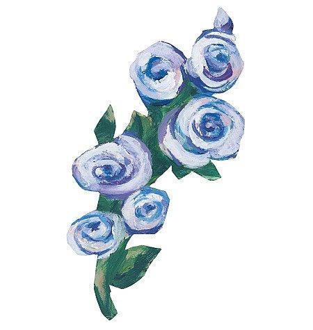 Kate's Blue Roses & Leaves Wallies Wallpaper Cutouts ()