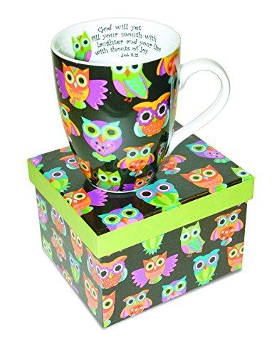 Divinity Boutique Inspirational Ceramic Mug - Owl Pattern, Job 8:21, Multicolor