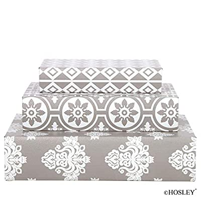 """Hosley Storage Memory Book Box Set /3, Gray White Farmhouse Large 12"""", Med 10"""" Small 8"""" High Ideal Gift for Wedding Memories Jewelry Trinket Hobby Keepsake Cash Pill Polish Gifts Letter File Photo P9"""