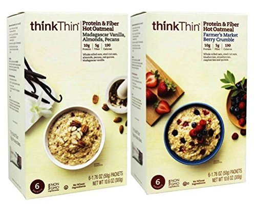 thinkThin Protein & Fiber Hot Oatmeal 2 Flavor Variety Bundle: (1) thinkThin Madagascar Vanilla, Almonds, Pecans Oatmeal, and (1) thinkThin Farmer's Market Berry Crumble Oatmeal, 10.6 Oz (2 Tot)