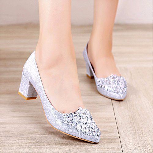 Shoe Autumn Heels And Shoes Spring Rough In Bright And silvery HXVU56546 Season The Drill Crystal Women'S EwXAqxH