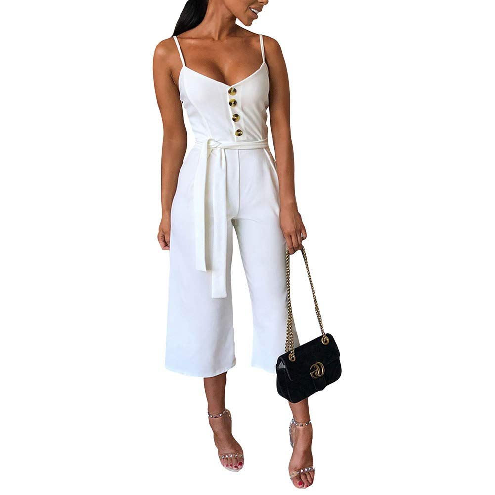 Desirepath Women Jumpsuits Elegant Summer Solid Sleeveless Wide Leg Spaghetti Strap Rompers