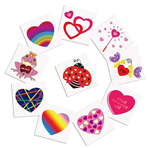 Cualfec 120 PCS Valentine#039s Day Temporary Tattoos Valentine#039s Day Party Favors Bulk Toys for Kids  10 Different Designs